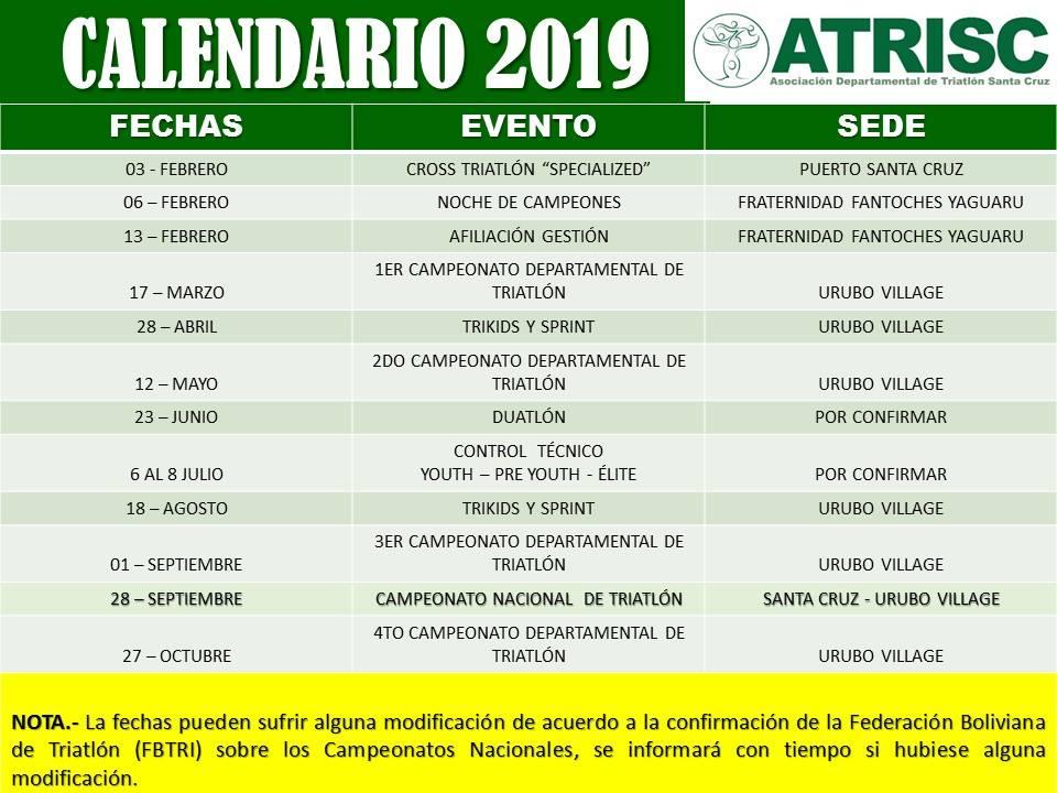 Calendario Triatlon 2019.Calendario De Carreras Triatlon Santa Cruz 2019